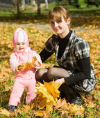 Mother with little baby outdoo — Stock Photo