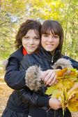 Girls in autumn — Stock Photo