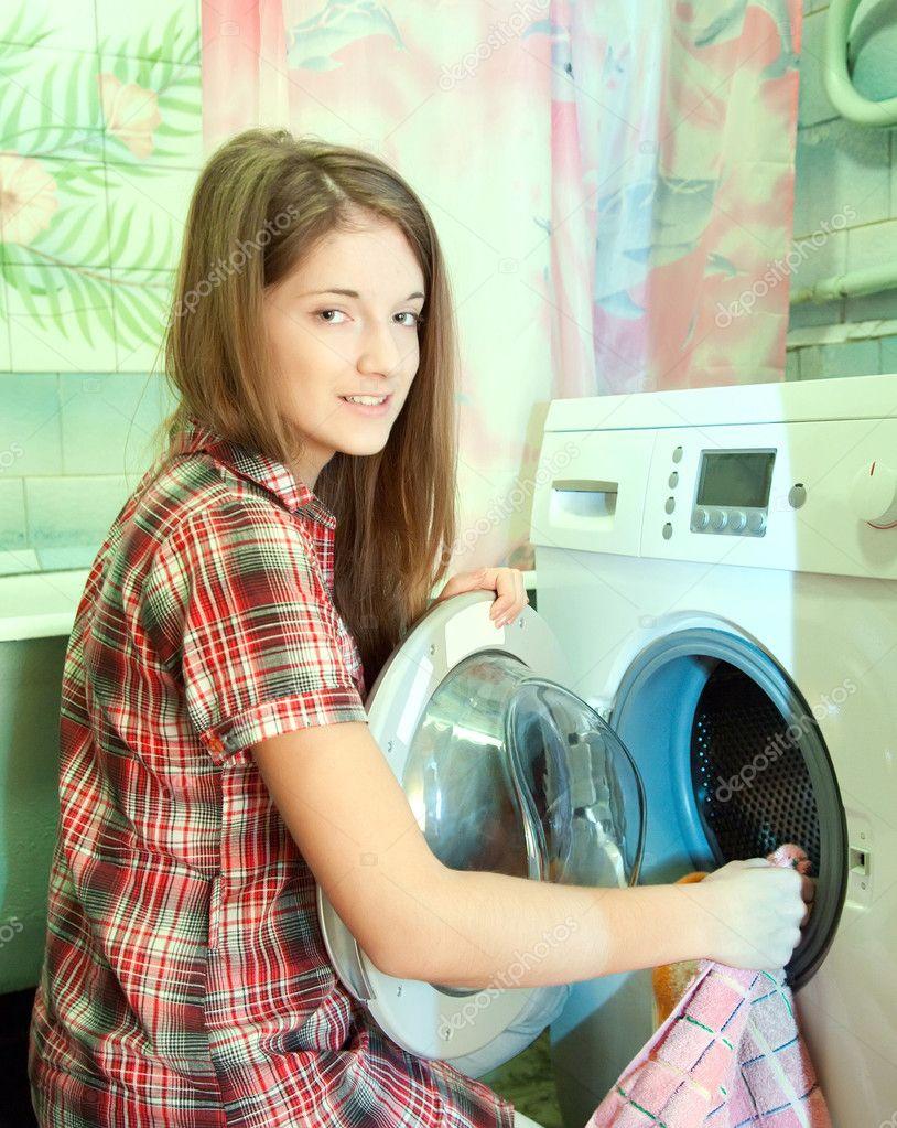 Milf doing laundry