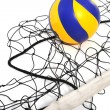 Volleyball ball and volleyball net — Stock Photo