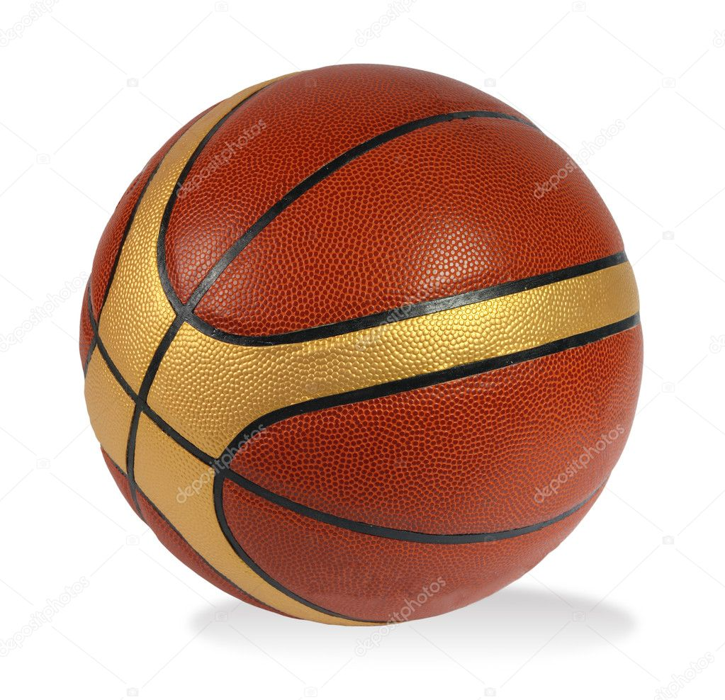 Brown basket-ball ball on the white background — Stock Photo #2804146