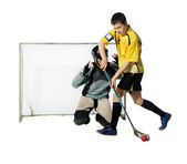 Floorball player and goalkeeper — Stock Photo