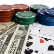 Casino chips and American money — Stock Photo