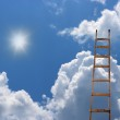 Old antique ladder to blue beautiful heaven — Stock Photo
