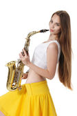 Girl with a sax musical instrument — Stock Photo