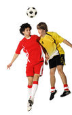 Boys with soccer ball, Footballers — Stock Photo