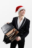 Businessman with an empty briefcase and hat of Santa Claus — Stock Photo
