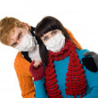 Man embraces a woman wearing masks, flu — Stock Photo