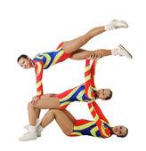 Vystoupení aerobik mladý sportovec — Stock fotografie