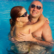 Woman and man at the pool board — Stock Photo