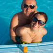 Woman and man at the pool board — Stock Photo #3168421