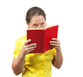 Women reading red book — Stock Photo