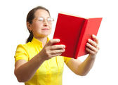 Women with red book — Stock Photo