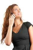 Pretty girl speak by phone — Stock Photo