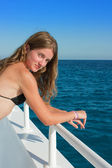 The young woman on the yacht — Stok fotoğraf