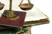 Scales and books — Stock Photo
