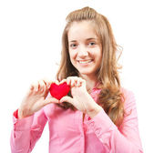 Teen with heart — Stock Photo