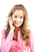 Pretty girl speak by phone. — Stock Photo