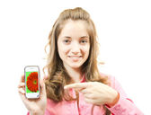 Girl with mobile. — Stock Photo