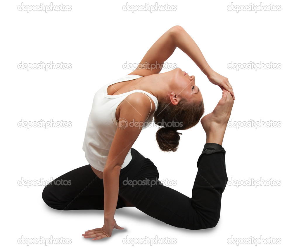 Fit brunette in black sportswear practicing yoga over white — Stock Photo #3167718