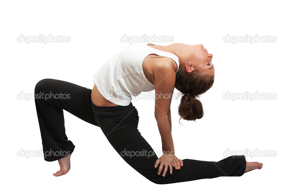 Beautiful girl doing yoga. Isolated  over white background — Stock Photo #3167726