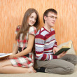 Two young students with books — Stockfoto