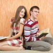 Two young students with books — Stock Photo