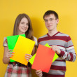 Nice teens with banners — Stock Photo