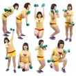 Sporty girl  exercising with weights — Stock Photo