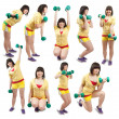 Sporty girl exercising with weights — Stock Photo #3176850
