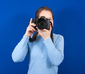 Happy female photographer — Stock Photo