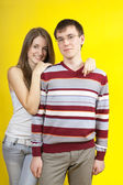 Beautiful young couple in casual clothing — Stock Photo