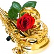 Sax and rose — Stock Photo