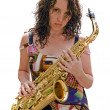 Stock Photo: Girl and sax