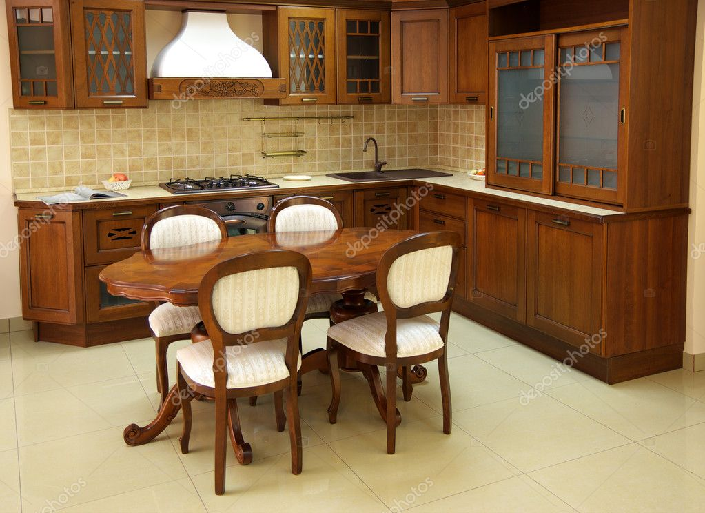 Wooden and brown kitchen. Indoor design. — Stock Photo #3026486