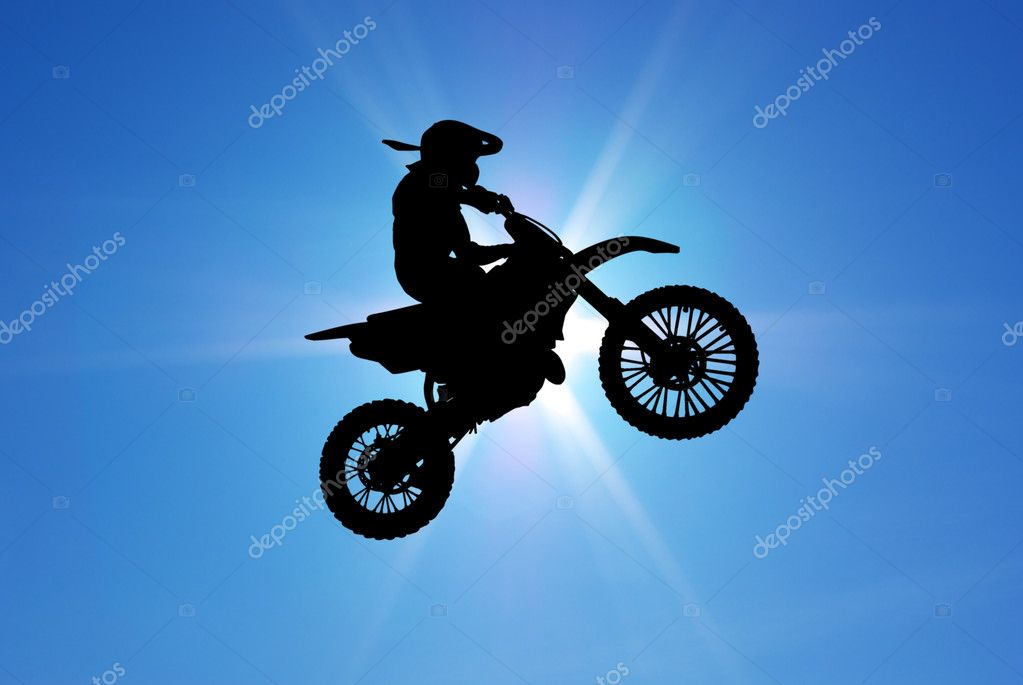 Moto racer in sunny sky. Element of sport design. — Stock Photo #3159565