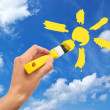 Stock Photo: Hand draw the sun in sky