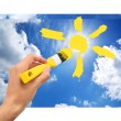 Hand draw the sun in sky — Stock Photo