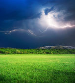 Thunderstorm in green meadow — Stock Photo