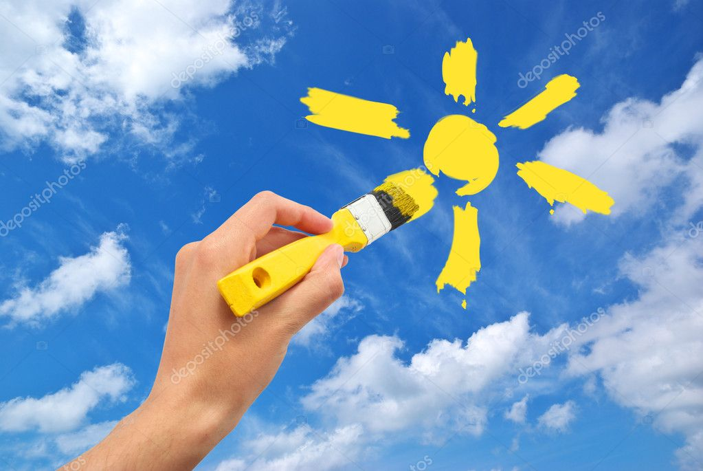 Hand draw the sun in sky. Conceptual design.  Stock Photo #3280757