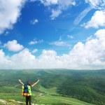 Tourist in mountain — Stock Photo #3624104