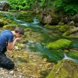 Man and river — Stock Photo
