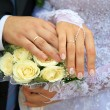 Stock Photo: Hands of newlywedses.