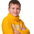 Smiling boy in yellow striped sweater — Stock Photo #3231297