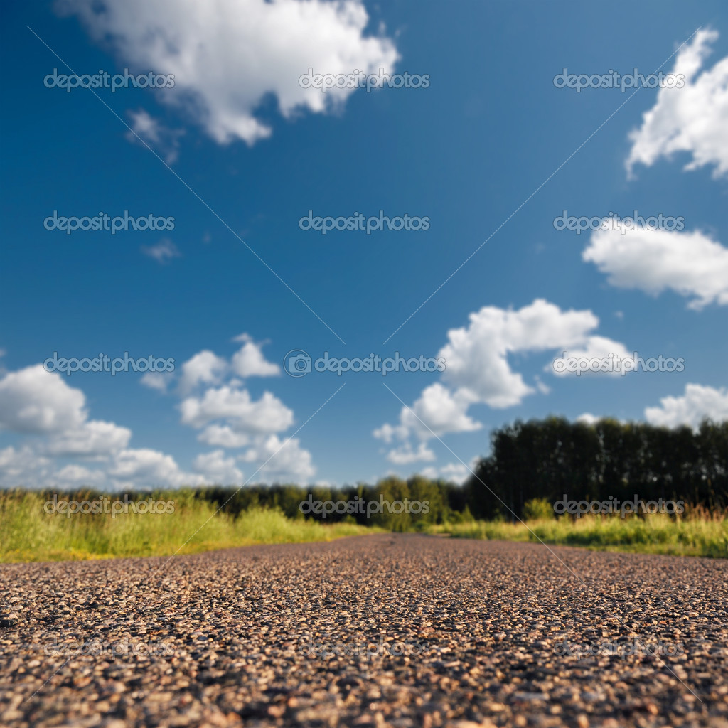 Straight road in rural landscape macro soft focus — Stock Photo #3439589