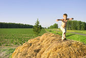 Boy jump on a hayrick and throw a straw — Stock Photo