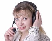 Mulher de operador do suporte ao cliente negócios sorrindo — Fotografia Stock