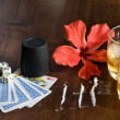 Whiskey,bones and Playing cards - Stock Photo