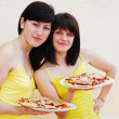 Stock Photo: Two young woman