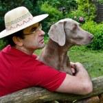Man and dog — Stock Photo